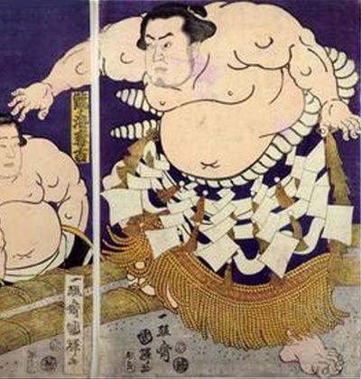 陣幕久五郎横綱土俵入り 国輝画